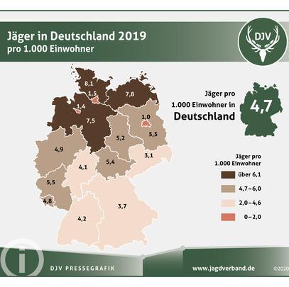 Jäger in Deutschland 2019 pro 1.000 Einwohner (Quelle: DJV)